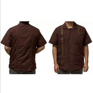 MEN SHORT SLEEVE GUAYABERA CUBAN SHIRT DARK BROWN